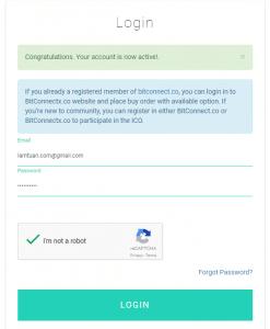 Đăng nhập vào tài khoản BitConnectX.