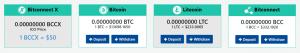 Nạp BTC/LTC/BCC vào tài khoản để mua ICO BCCX.